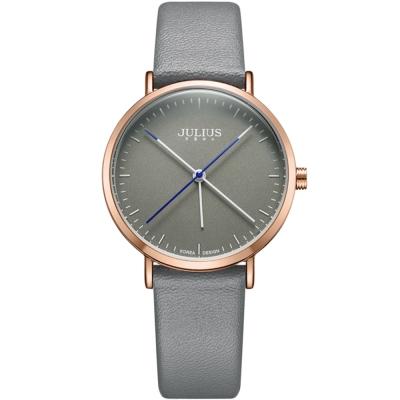 JULIUS聚利時 凝駐時光長指針設計皮錶帶腕錶-淺灰/34mm