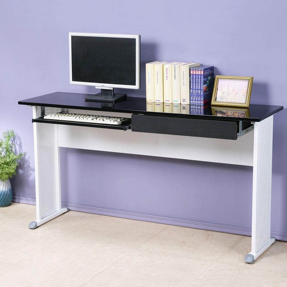Homelike 皮特工作桌(附抽+鍵)-亮面烤漆-140x40x74cm