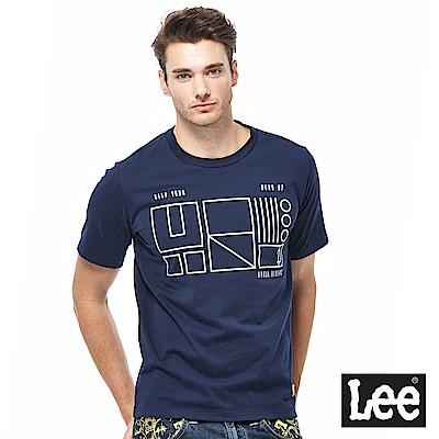Lee 金屬線條短袖圓領TEE-男款-藍