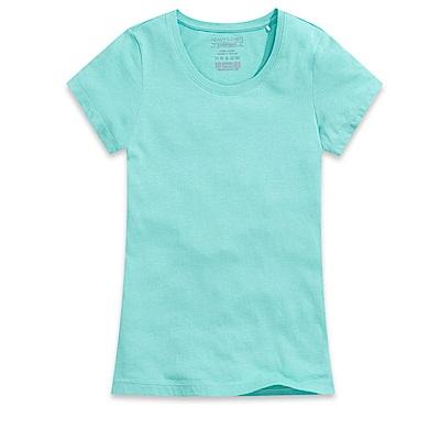 101原創 經典水洗原色圓領素T恤-女-碧綠
