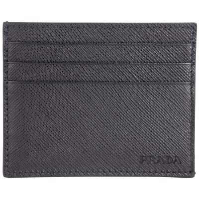 PRADA Saffiano 壓印LOGO防刮牛皮萬用卡片夾(黑色)