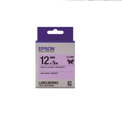 EPSON C53S654459 LK-42BK蕾絲緞帶系列 粉紫色底黑字標籤帶寬12mm