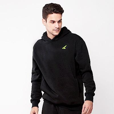 【AIRWALK】素色基本款刷毛連帽T恤-黑色