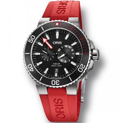 ORIS 豪利時 Aquis時間之海限量潛水校正專業套錶(含鋼帶+膠帶)-黑44mm