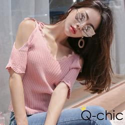 正韓 蕾絲花邊綁帶露肩針織上衣 (共三色)-Q-chic