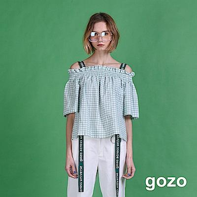 gozo 垂墜吊帶格紋平口露肩上衣(二色)