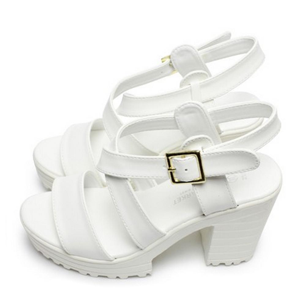 FUFA  MIT線條造型高跟涼鞋 (FA60)-白色