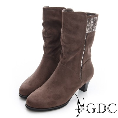 GDC個性-絨布真皮水鑽拉鍊粗跟中筒靴-可可色