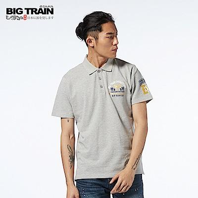 BIG TRAIN 軍事潮流POLO衫-男-麻灰