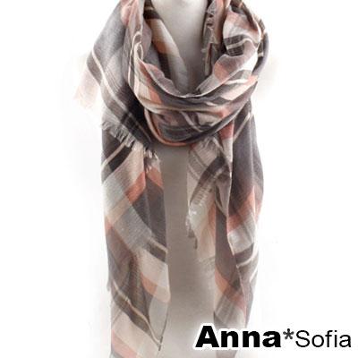 AnnaSofia-經典格紋質感波壓紋-高密度織毛邊披肩圍巾-灰粉系