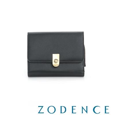 ZODENCE 西班牙牛皮系列LOGO金屬扣設計零錢短夾 黑