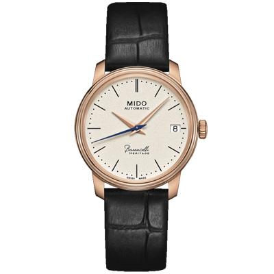 MIDO美度Baroncelli永恆系列超薄復刻機械錶-玫瑰金/33mm