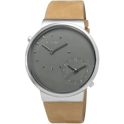 SKAGEN Ancher 知性樂章雙環設計皮革腕錶-灰x駝色/40mm