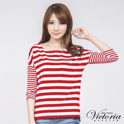 Victoria 貼鑽條紋七分袖T-女-紅白條