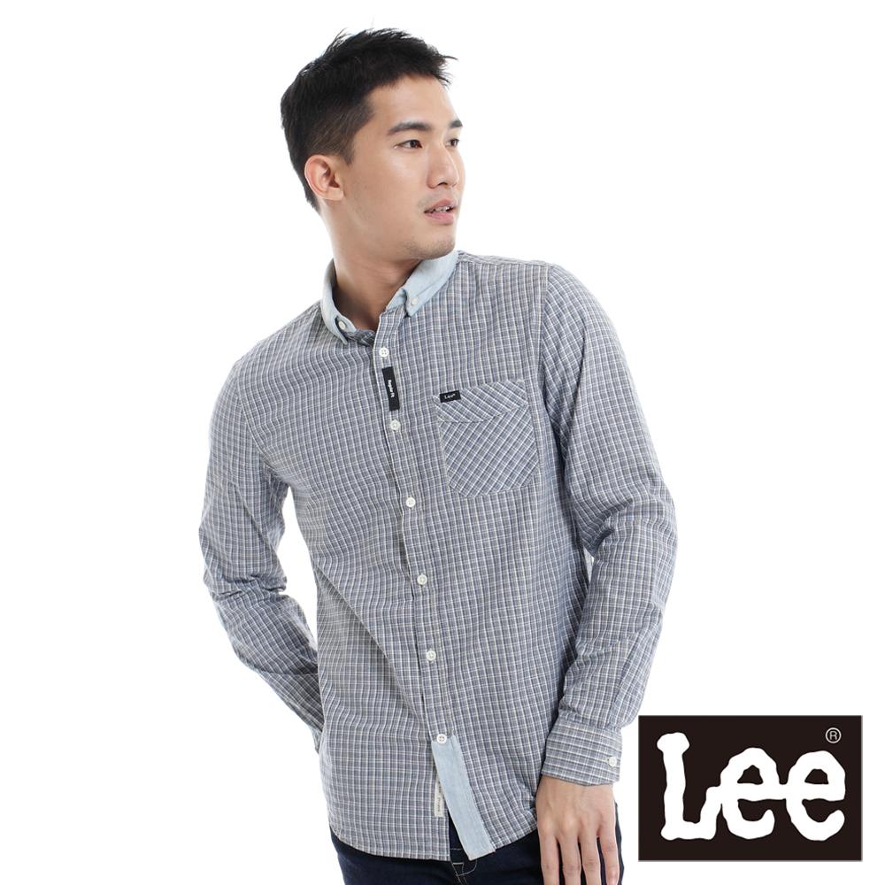 Lee 長袖襯衫 格紋及牛仔拼接-男款(藍)