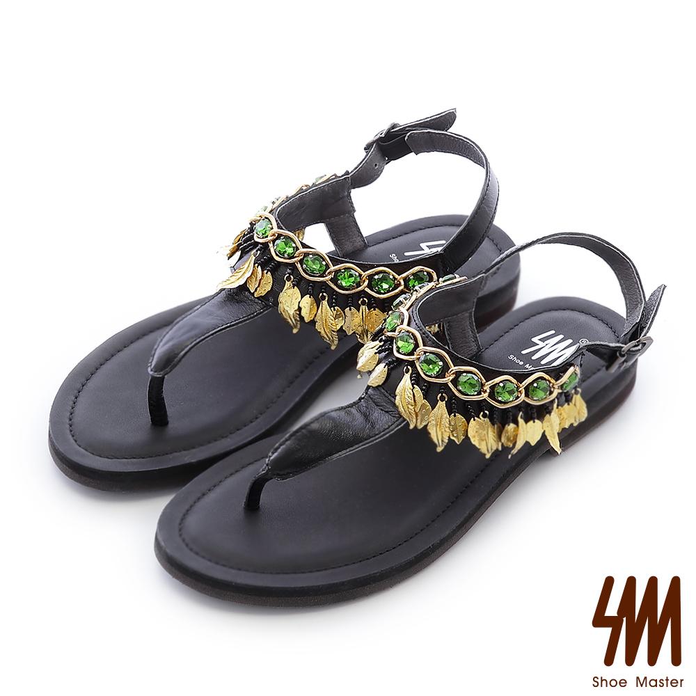 SM-晶鑽羅馬-水鑽月桂葉女神夾腳平底涼鞋-黑色