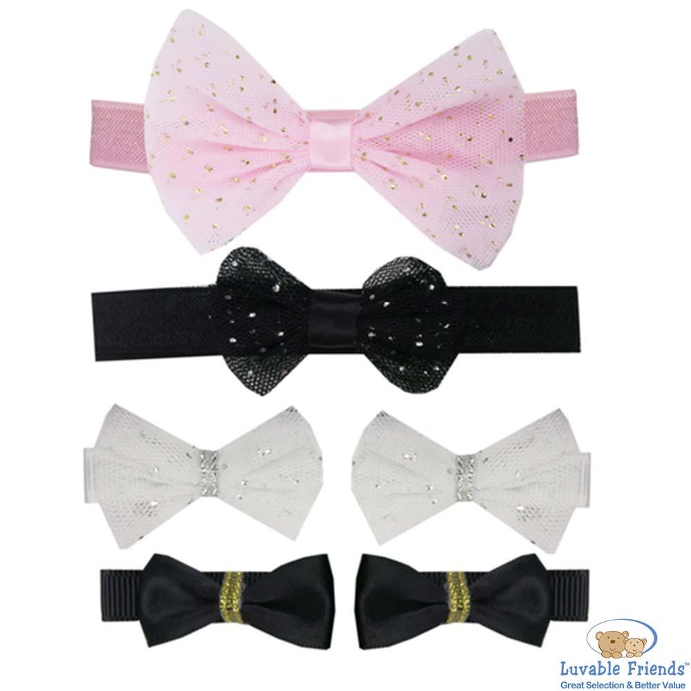 Luvable Friends 粉黑白蕾絲金蔥款蝴蝶結髮飾6件組