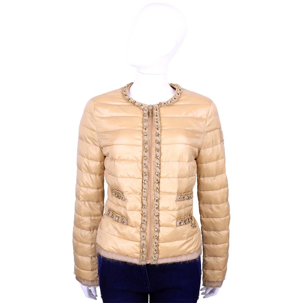 ELISABETTA FRANCHI 駝色鍊帶滾邊設計舖棉外套