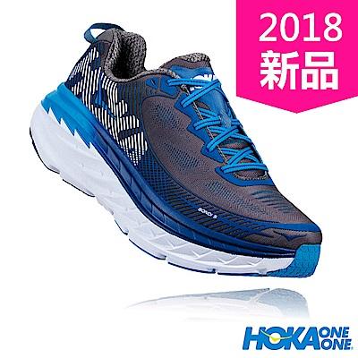 HOKA ONE ONE 男 BONDI 5 WIDE 路跑鞋 炭灰/純藍