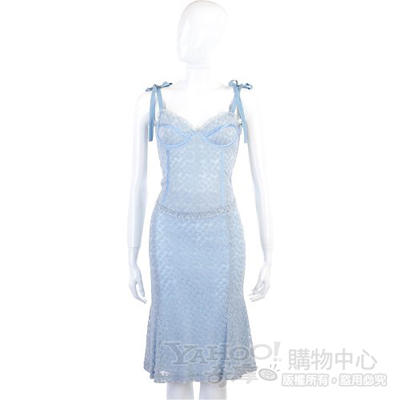 MOSCHINO 水藍色繡花及膝裙