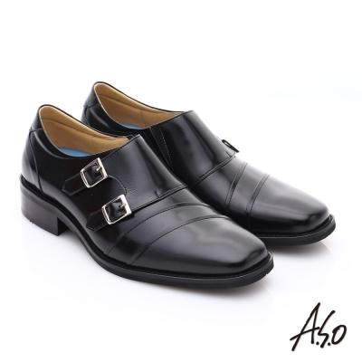 A.S.O菁英通勤 雙飾扣鏡面牛皮奈米皮鞋 黑色