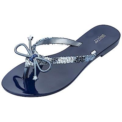 Melissa 夏日星空星星蝴蝶結夾腳鞋-藍/銀