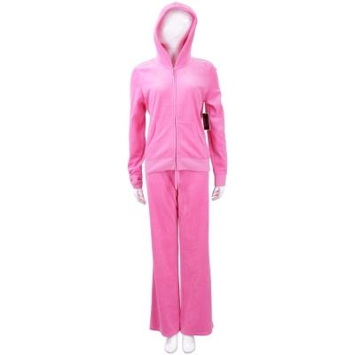 Juicy Couture 桃粉色水鑽燙銀字母天鵝絨連帽休閒套裝