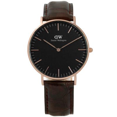 DW Daniel Wellington 旗艦壓紋真皮手錶-黑x玫瑰金框x深咖啡/36mm