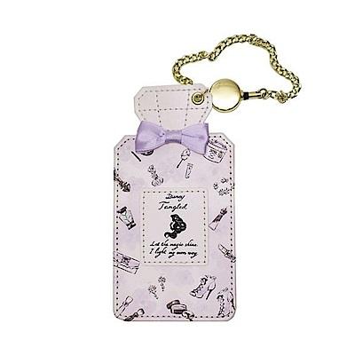 KAMIO  迪士尼公主花繪彩妝系列珠光PU皮革香水瓶造型伸縮票卡夾附鍊(長髮公主樂佩)