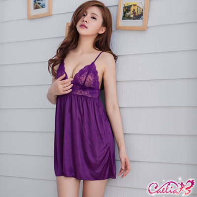 Caelia 紫羅蘭香!魅惑柔緞睡衣