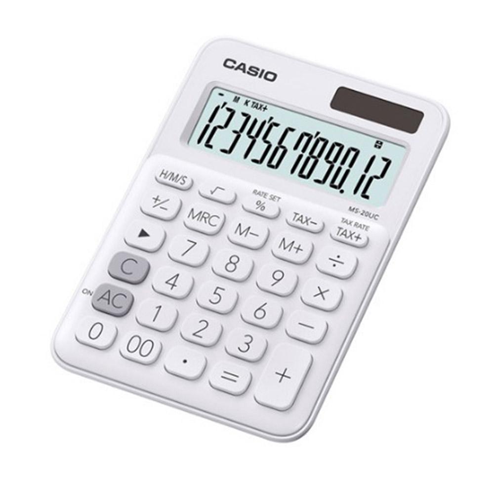 CASIO 12位元繽紛馬卡龍色系便利型計算機 牛奶白  MS-20UC-WE