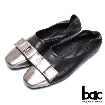 bac經典時尚-嚴選牛皮後踩兩用平底鞋-槍黑