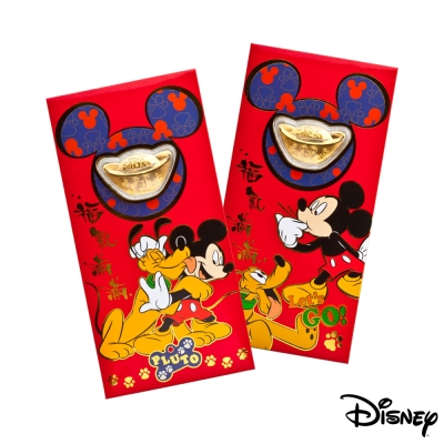 Disney迪士尼系列金飾-黃金元寶紅包袋-最佳拍檔+福氣旺來款