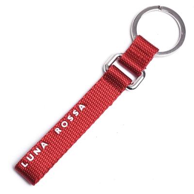 LUNA ROSSA by PRADA 風帆盃字母LOGO寬版鎖圈吊飾(紅)