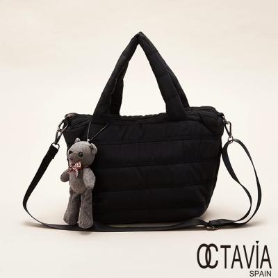 OCTAVIA  8  - 小媽媽 鋪棉橫壓線三角托特包(附小熊) - 萬能黑
