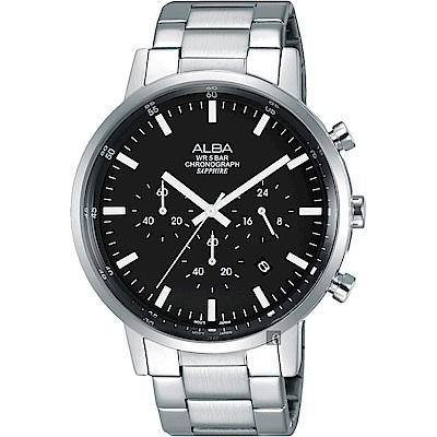 ALBA雅柏 Prestige 街頭酷流行計時男錶(AT3D33X1)-黑x銀/42mm