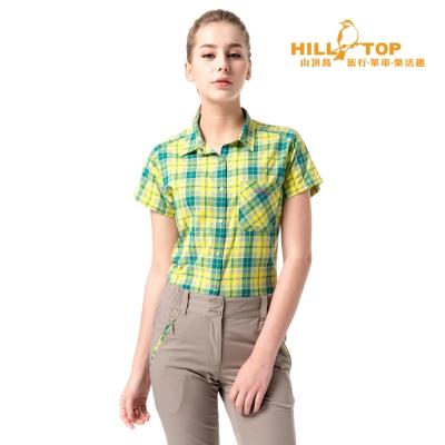 【hilltop山頂鳥】女款吸濕排汗抗UV短袖襯衫S06F55亮黃格