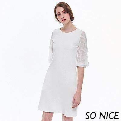 SO NICE優雅蕾絲拼接羅馬布洋裝