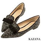 KAZANA-閃耀碎石蝴蝶結尖頭平底鞋 黑