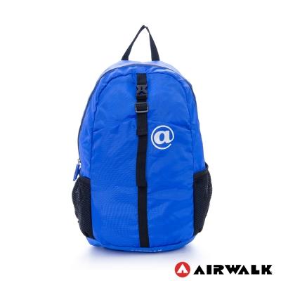 AIRWALK-旅行運動必備可摺疊收納式雙肩包-繽紛藍