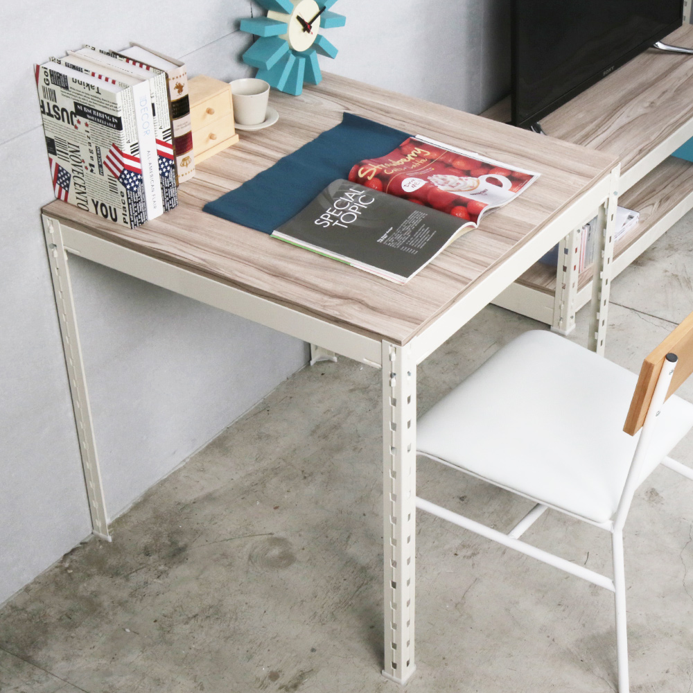 H&D 角鋼美學-工業風免鎖角鋼方型餐桌/工作桌-2色(76x76x75cm)