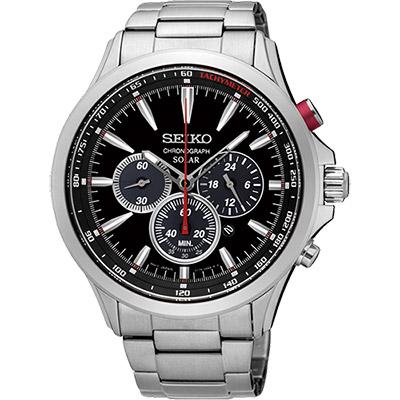 SEIKO SOLAR 太陽能奔馳計時腕錶(SSC493P1)-黑/44mm