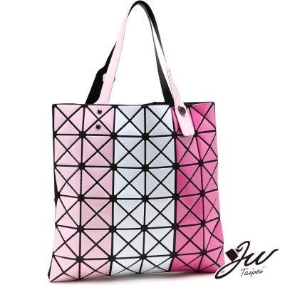 JW魔幻漆皮幾何直式三色拼貼變形包-共4色-粉白桃