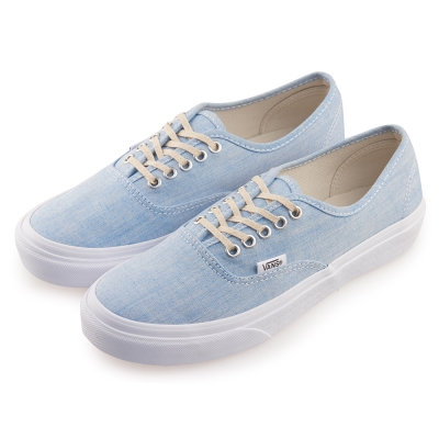 (女)VANS Authentic Slim 素色5孔綁帶休閒鞋*藍色