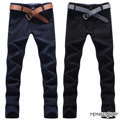 小猴子的賣場 韓版撞色雨滴圖騰窄管休閒長褲-2色