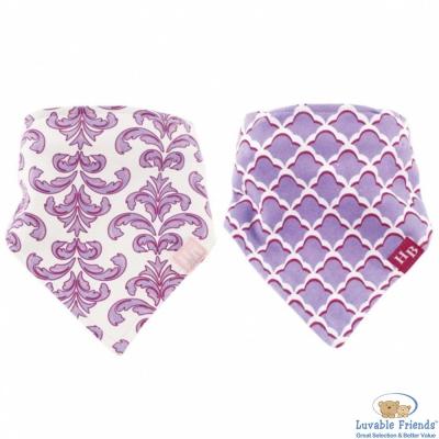 Luvable Friends 紫色鳶尾圖騰款領巾造型圍兜/口水巾2件組