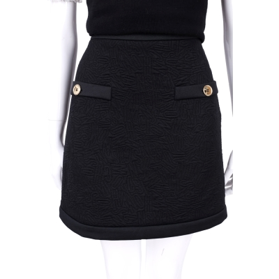 MOSCHINO 黑色金釦車線設計短裙