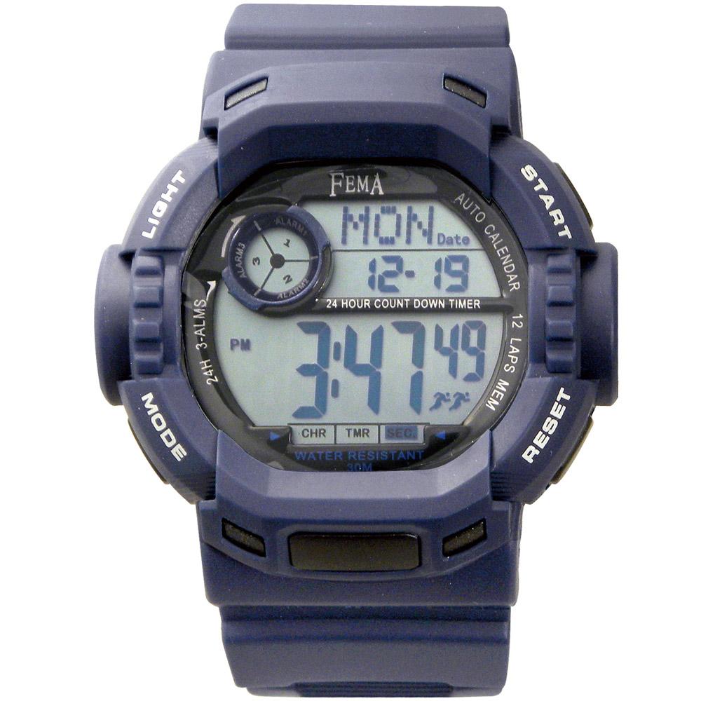 FEMA 時光戰警 計時鬧鈴運動錶(P319)-藍/45mm