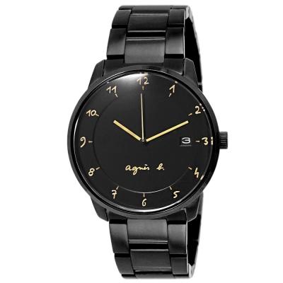 agnes b.簡約手繪時標時尚手錶-黑/38mm