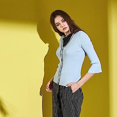 ICHE 衣哲 法式氣質羅紋V領修身七分袖針織外套(兩色)-藍